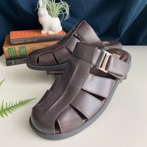 Vintage Leather Slip On Chunky Mules